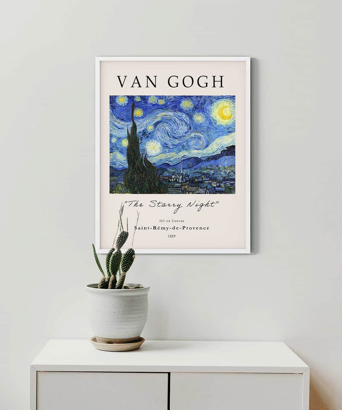 The-Starry-Night-Poster-White-Framed-on-Wall-Duwart