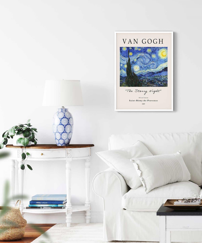 The-Starry-Night-Poster-on-Livingroom-Wall-White-Framed-Duwart