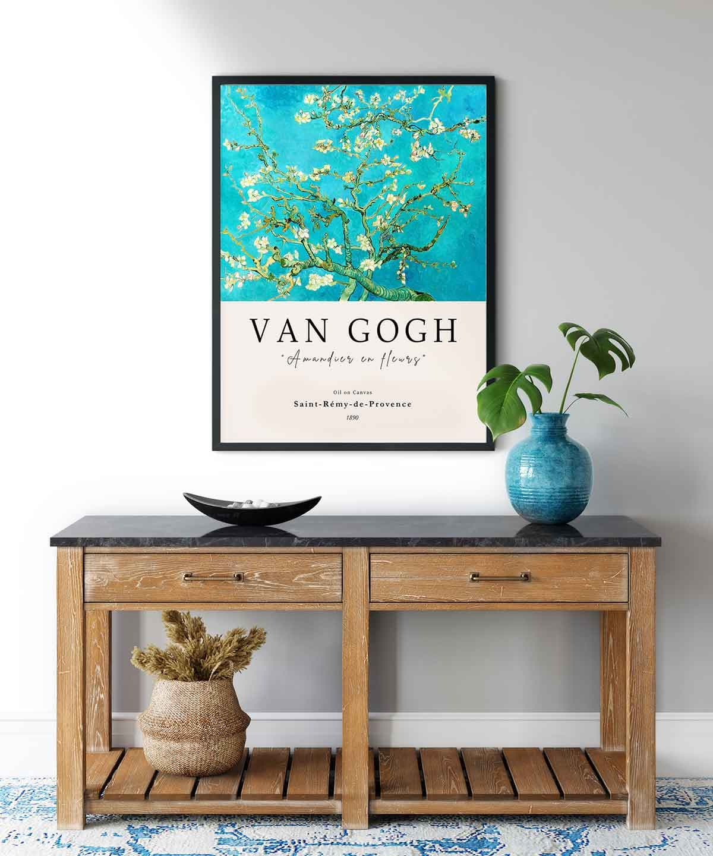 Van-Gogh-Blossoming-Almond-Tree-Poster-Black-Framed-Duwart