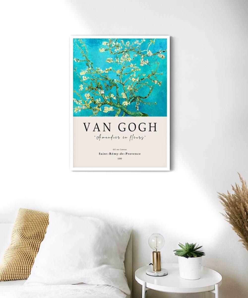 Van-Gogh-Blossoming-Almond-Tree-Poster-White-Framed-Duwart