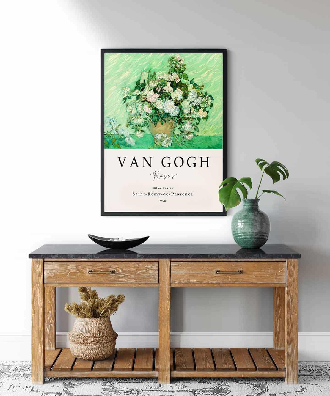 Van-Gogh-Roses-Poster-Black-Framed-Duwart