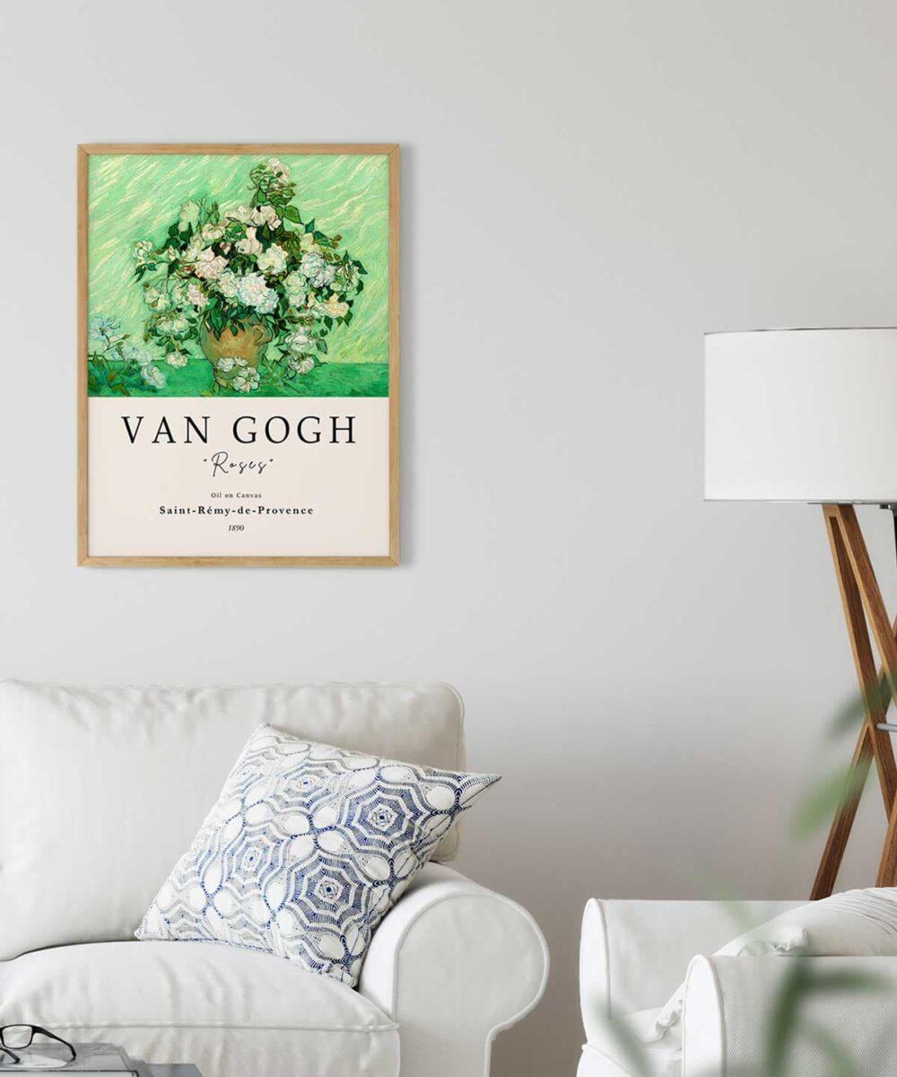 Van-Gogh-Roses-Poster-Wooden Framed on Wall-Duwart