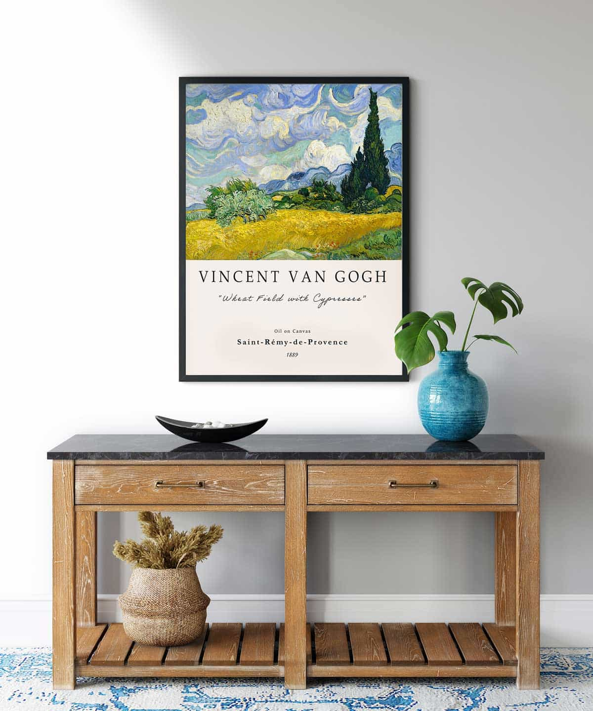 Van-Gogh-Wheat-Field-with-Cypresses-Poster-Black-Framed-on-Wall-Duwart