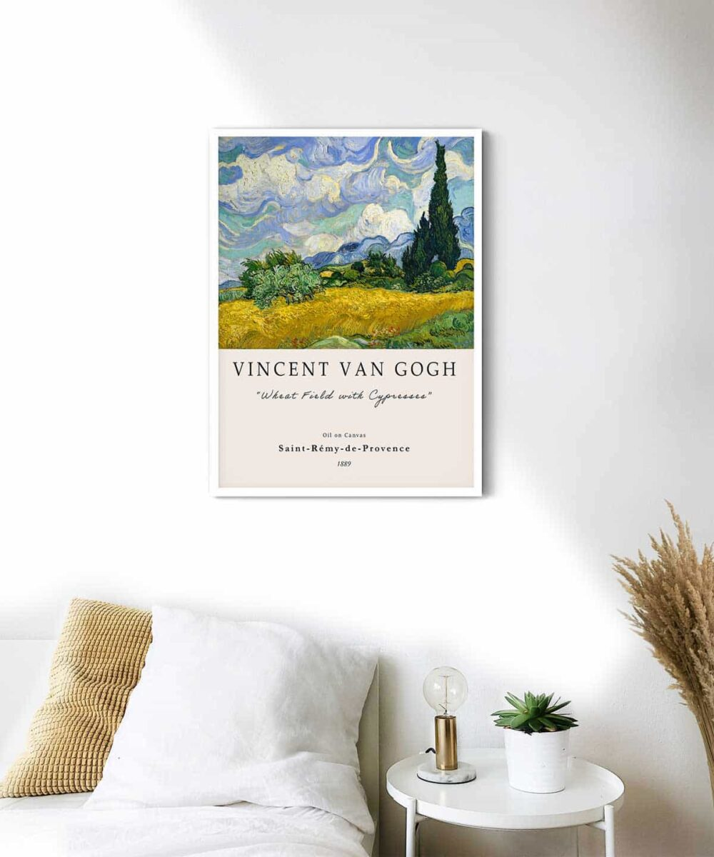 Van-Gogh-Wheat-Field-with-Cypresses-Poster-White-Framed-Duwart