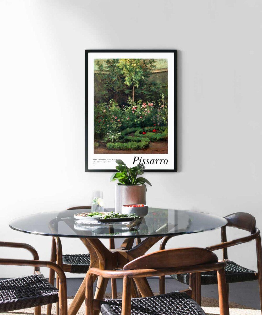 Camille-Pissarro-A-Rose-Garden-Black-Framed-Duwart
