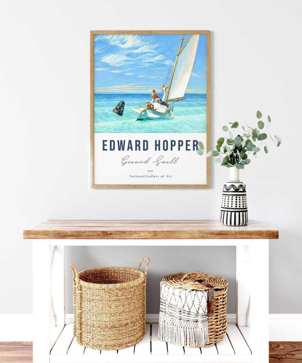 Edward-Hopper-Ground-Swell-Poster-Wooden-Framed-Art print-Duwart