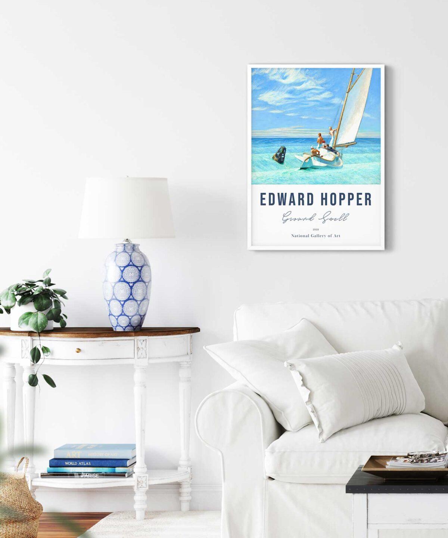 Edward-Hopper-Ground-Swell-Poster-on-Livingroom-Wall-White-Framed-Duwart