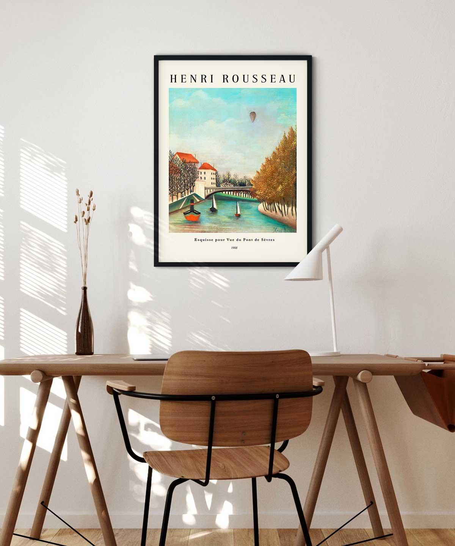 Henri-Rousseau-View-of-the-Pont-de-Sevres-Poster-Black-Framed-New-Duwart