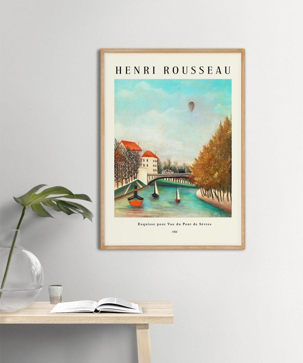 Henri-Rousseau-View-of-the-Pont-de-Sevres-Poster-Wooden-Framed-New-Duwart