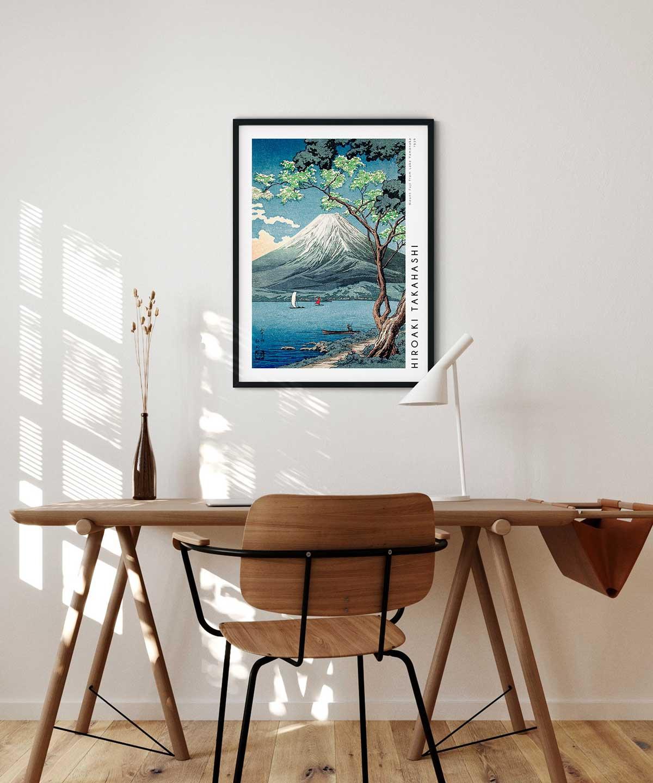Hiroaki-Takahashi-Mount-Fuji-from-Lake-Yamanaka-Poster-Black-Framed-Duwart