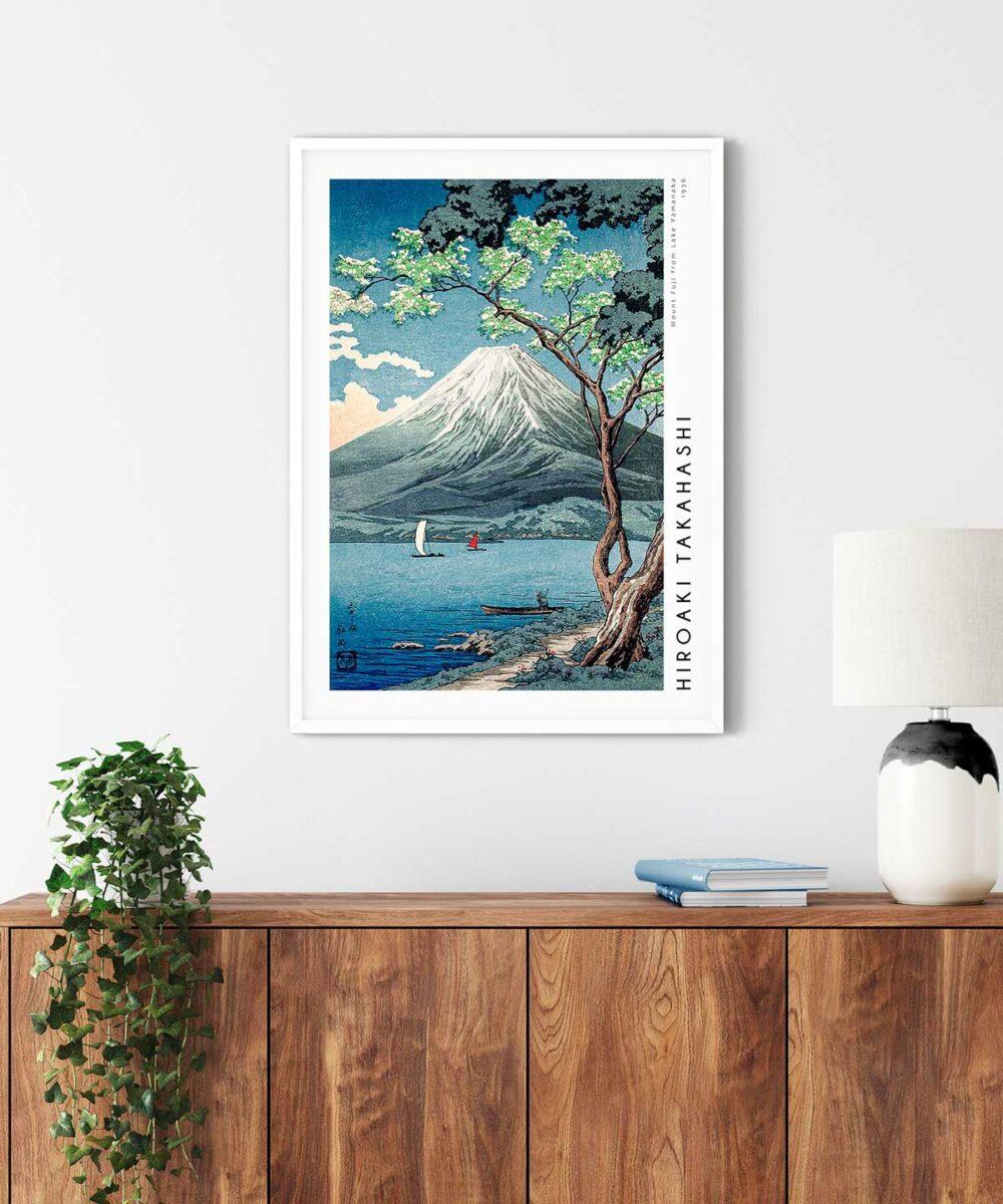 Hiroaki-Takahashi-Mount-Fuji-from-Lake-Yamanaka-Poster-White-Framed-Duwart