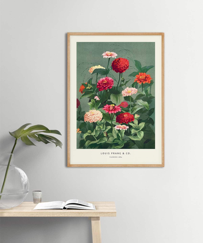 Louis-Prang-&-Co.-Flowers-Poster-on-Wall-Wooden-Framed-Duwart