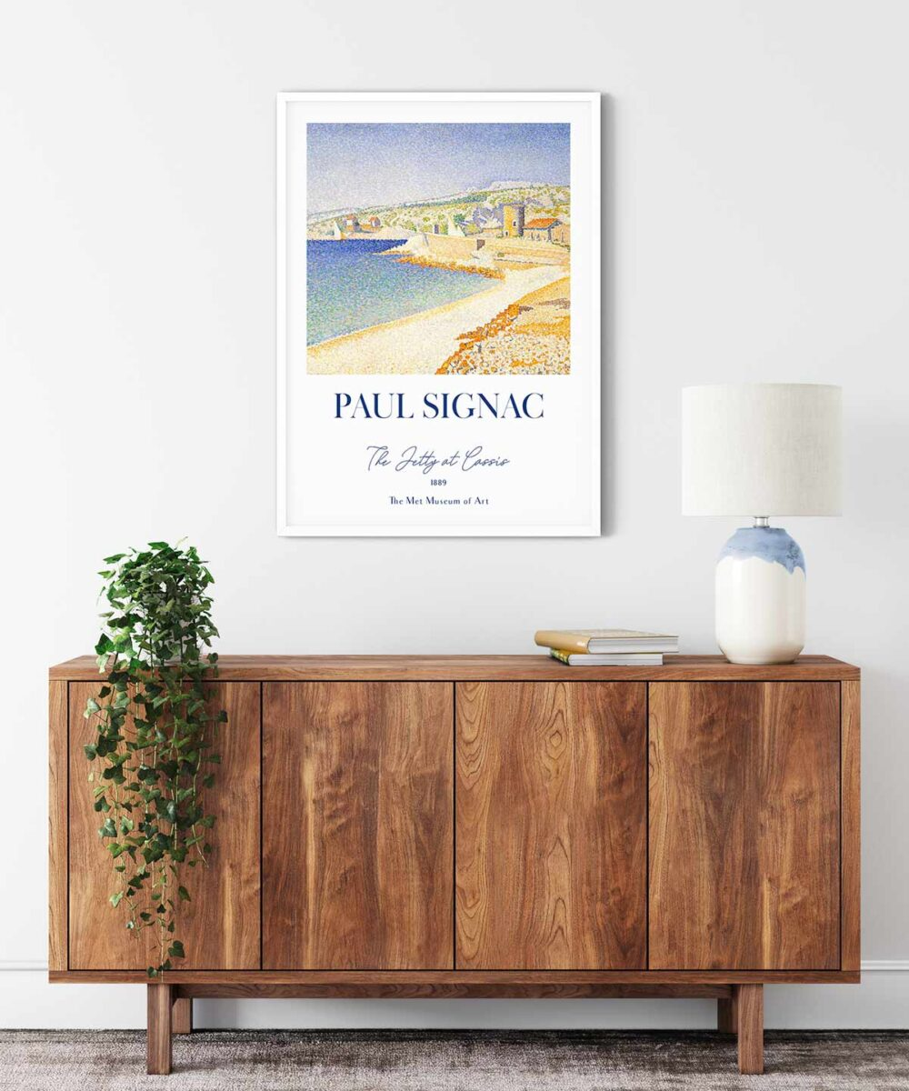 Paul-Signac-The-Jetty-at-Cassis-Poster---White-Framed-Duwart