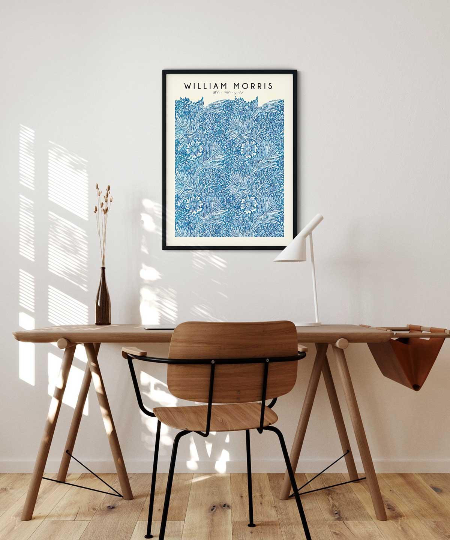 William-Morris-Blue-Marigold-Poster-Black-Framed-Duwart