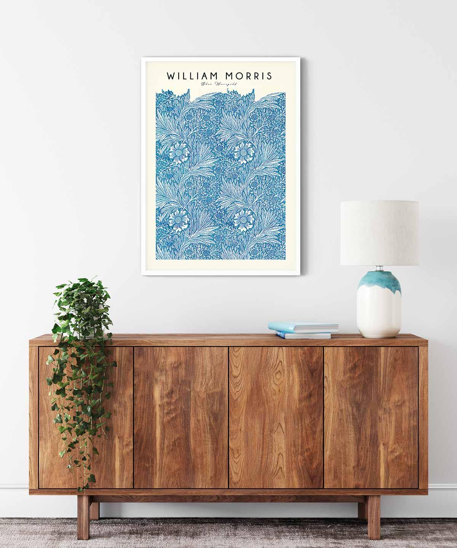 William-Morris-Blue-Marigold-Poster-White-Framed-Duwart