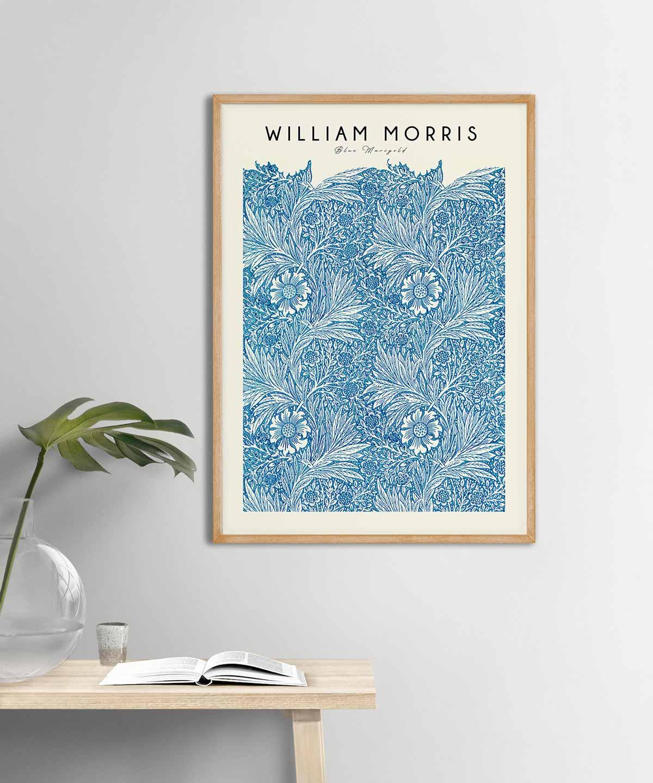 William-Morris-Blue-Marigold-Poster-Wooden-Framed-Duwart