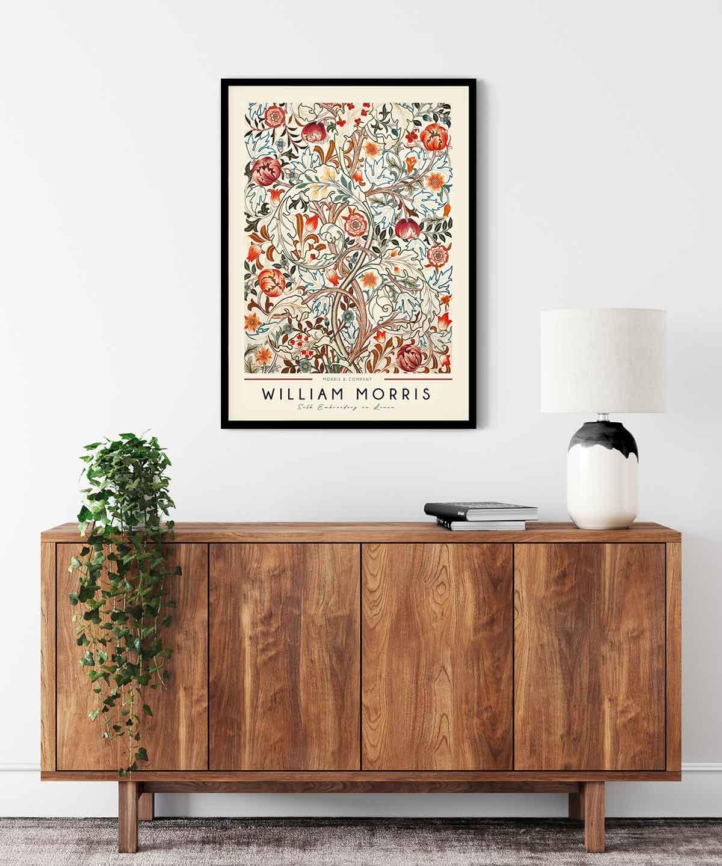 William-Morris-Linen-Print-Poster--Black-Framed-Duwart