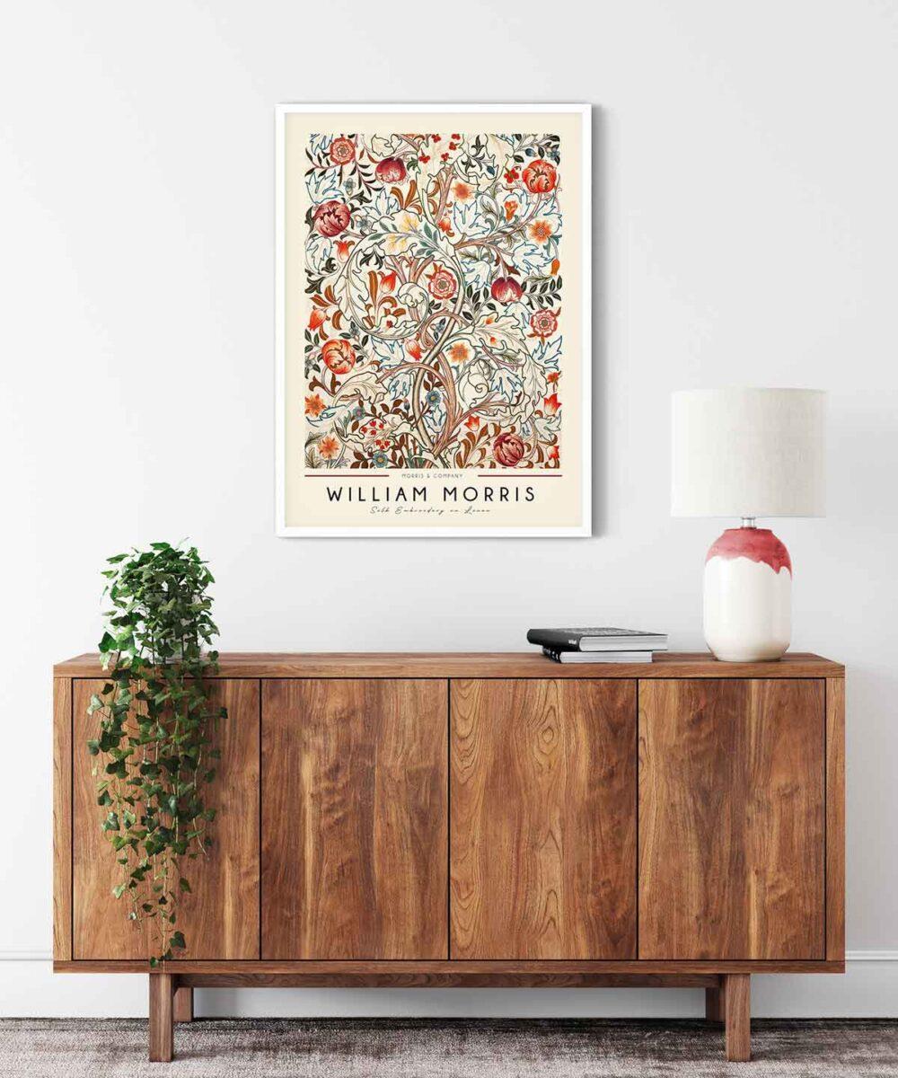 William-Morris-Linen-Print-Poster--White-Framed-Duwart