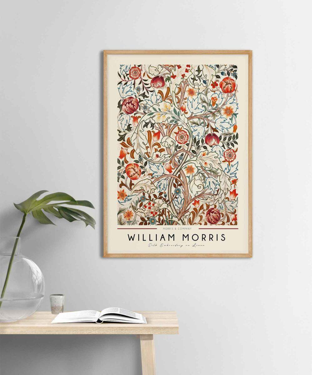 William-Morris-Linen-Print-Poster-Wooden-Framed-on-Wall-Duwart