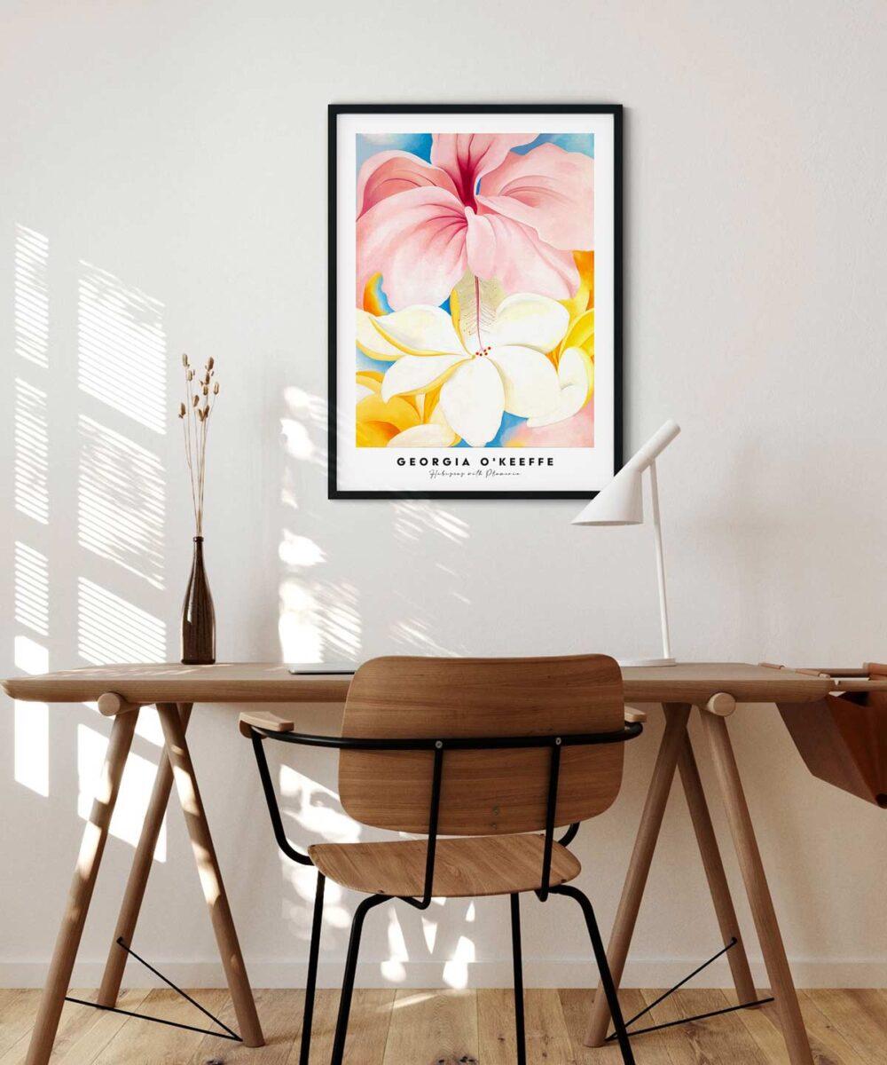 Georgia-O-Keeffe-Hibiscus-with-Plumeria-Poster---Black-Framed-Duwart