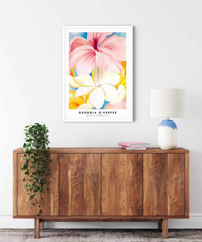 Georgia-O-Keeffe-Hibiscus-with-Plumeria-Poster---White-Framed-Duwart