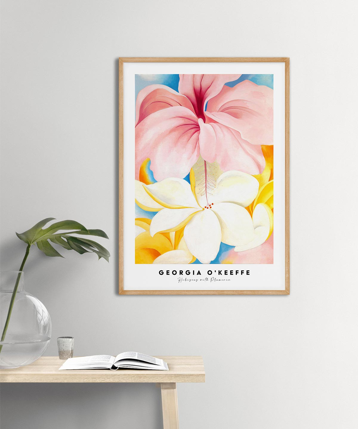 Georgia-O-Keeffe-Hibiscus-with-Plumeria-Poster---Wooden-Framed-Duwart