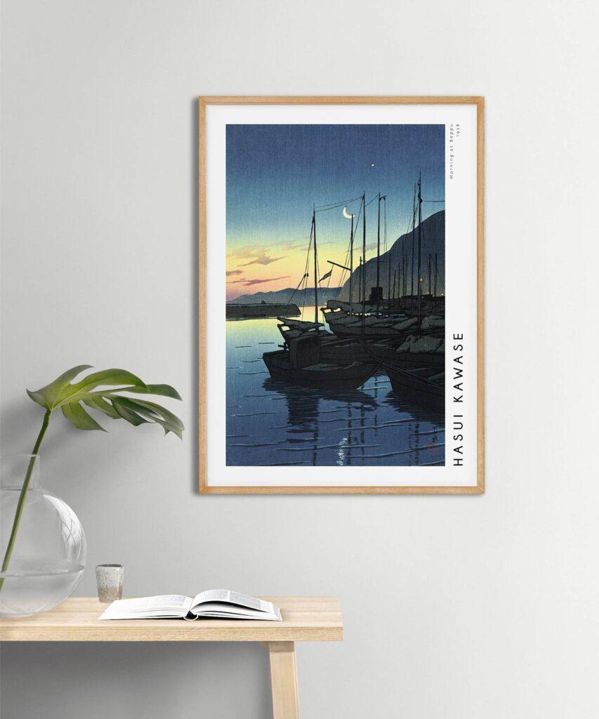 Hasui-Kawase-Morning-at-Beppu-Poster-Wooden-Framed-on-Wall-Duwart
