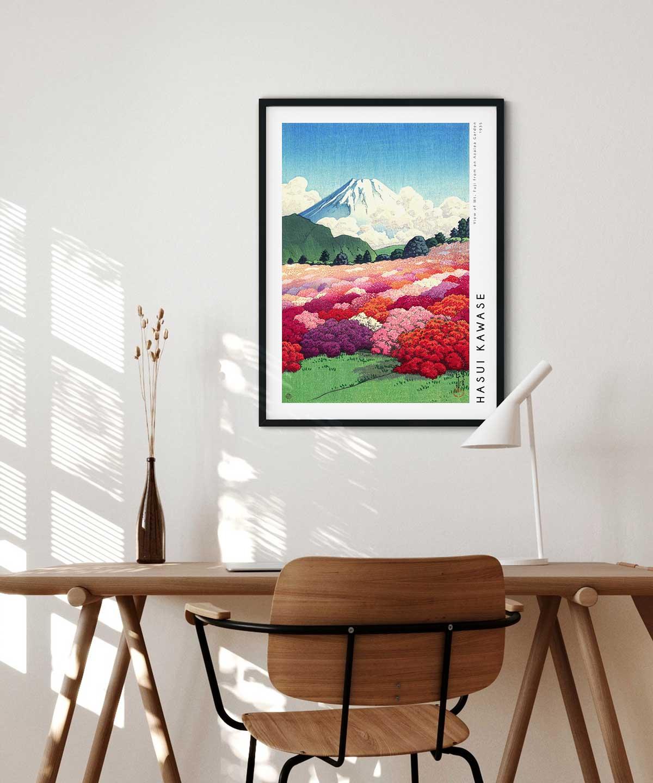 Hasui-Kawase-Mt-Fuji-from-an-Azalea-Garden-Poster-Black-Framed-Duwart