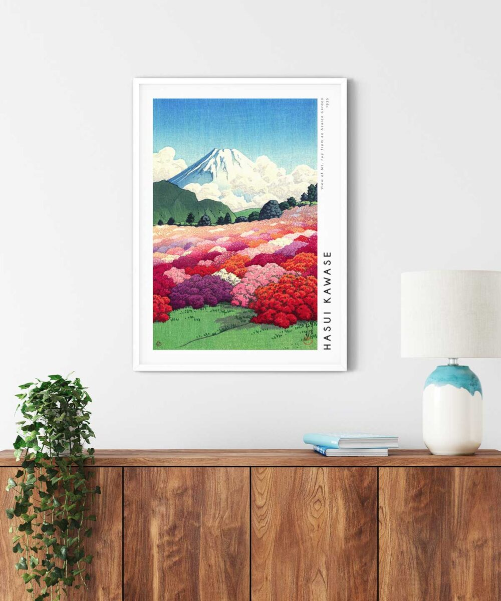 Hasui-Kawase-Mt-Fuji-from-an-Azalea-Garden-Poster-White-Framed-Duwart