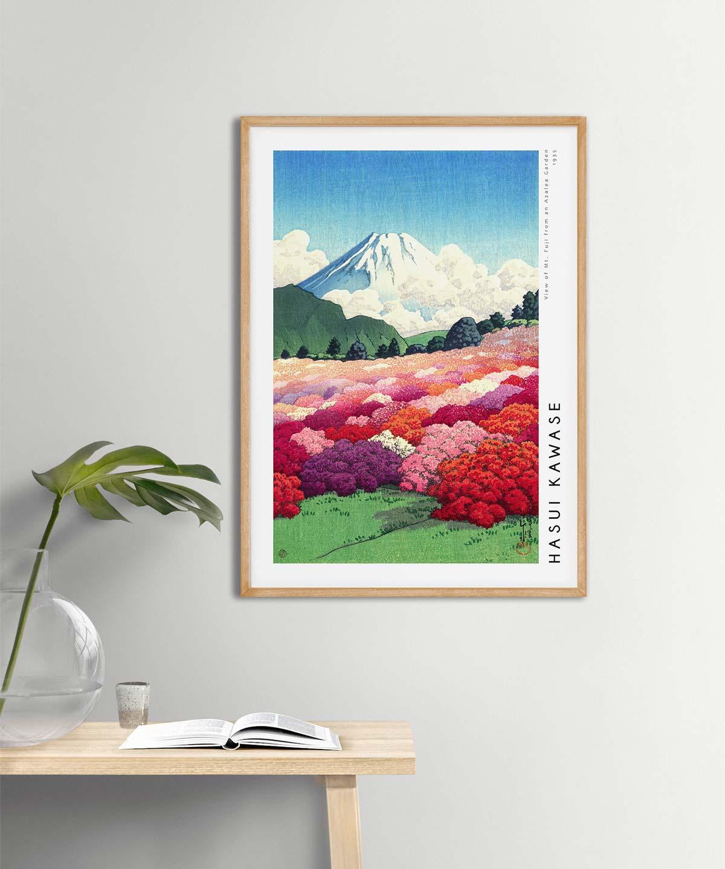 Hasui-Kawase-Mt-Fuji-from-an-Azalea-Garden-Poster-Wooden-Framed-on-Wall-Duwart
