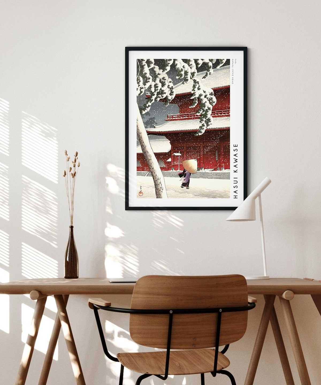 Hasui-Kawase-Shiba-Zojoji-Temple-Poster-Black-Framed-Duwart