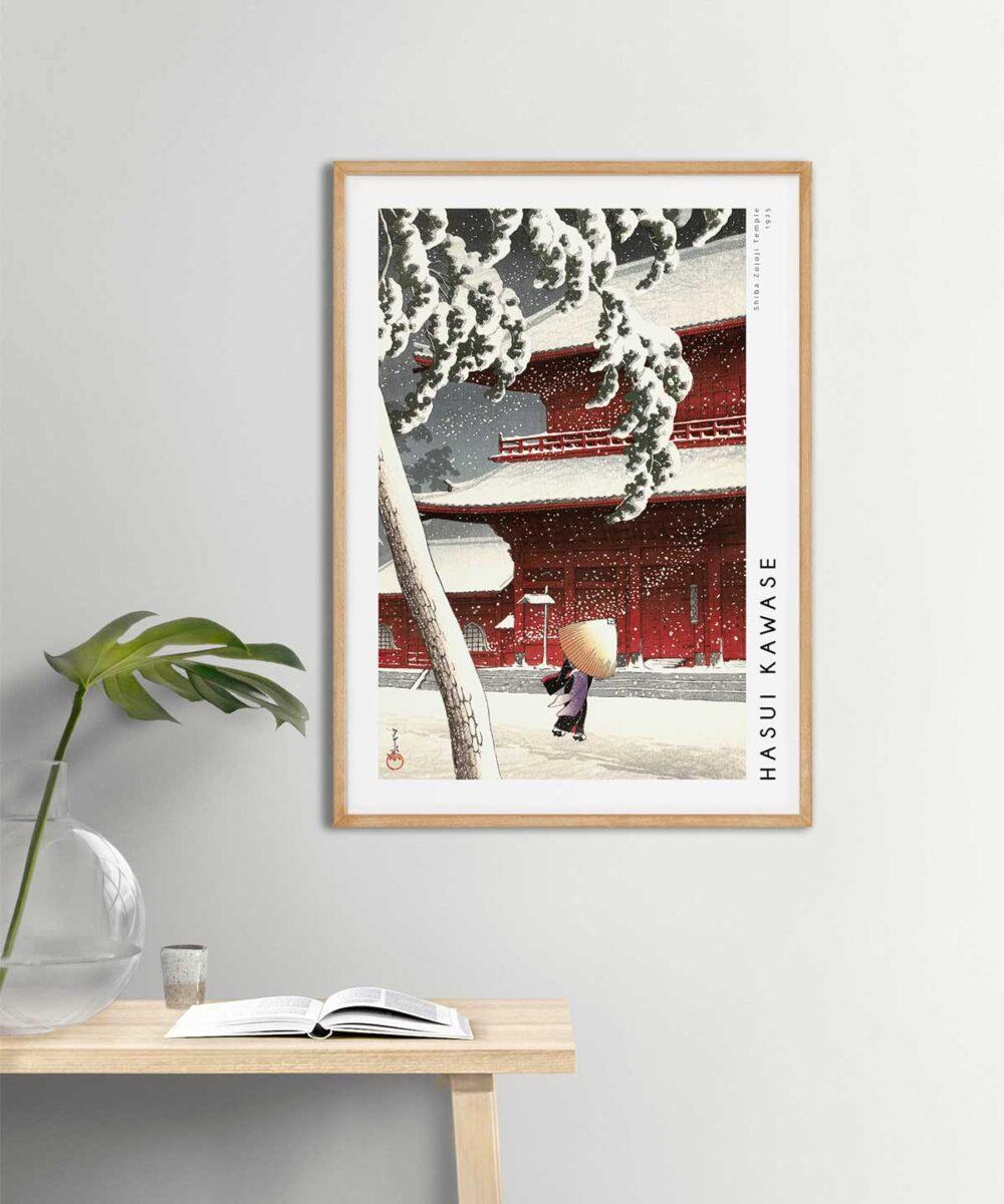 Hasui-Kawase-Shiba-Zojoji-Temple-Poster-Wooden-Framed-on-Wall-Duwart