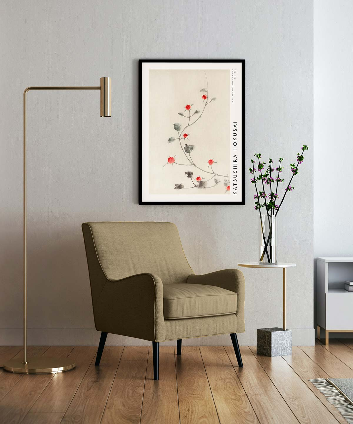 Hokusai-Small-Red-Blossoms-on-a-Vine-Poster-Black-Framed-on-Wall-Duwart