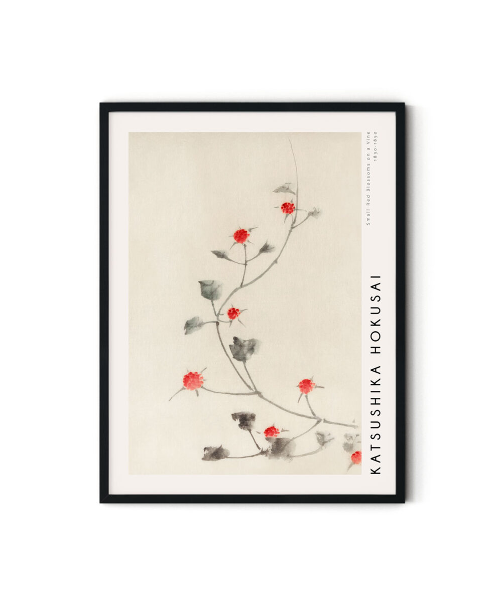 Hokusai-Small-Red-Blossoms-on-a-Vine-Poster-Duwart