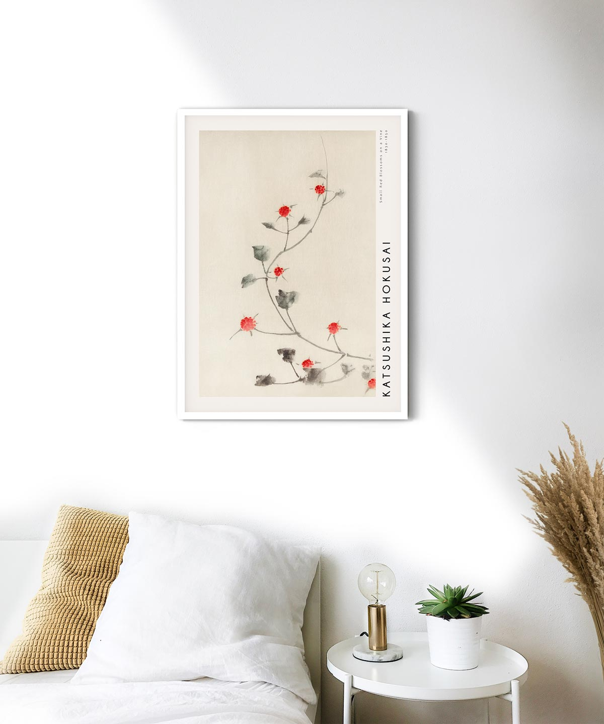 Hokusai-Small-Red-Blossoms-on-a-Vine-Poster--White-Framed-on-Wall-Duwart