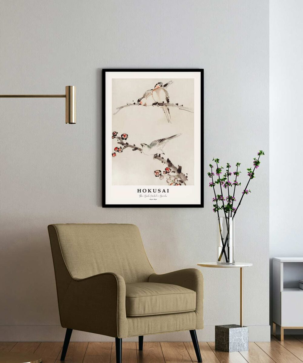 Hokusai-Three-Birds-Perched-on-Branches-Poster--Black-Framed-on-Wall-Duwart