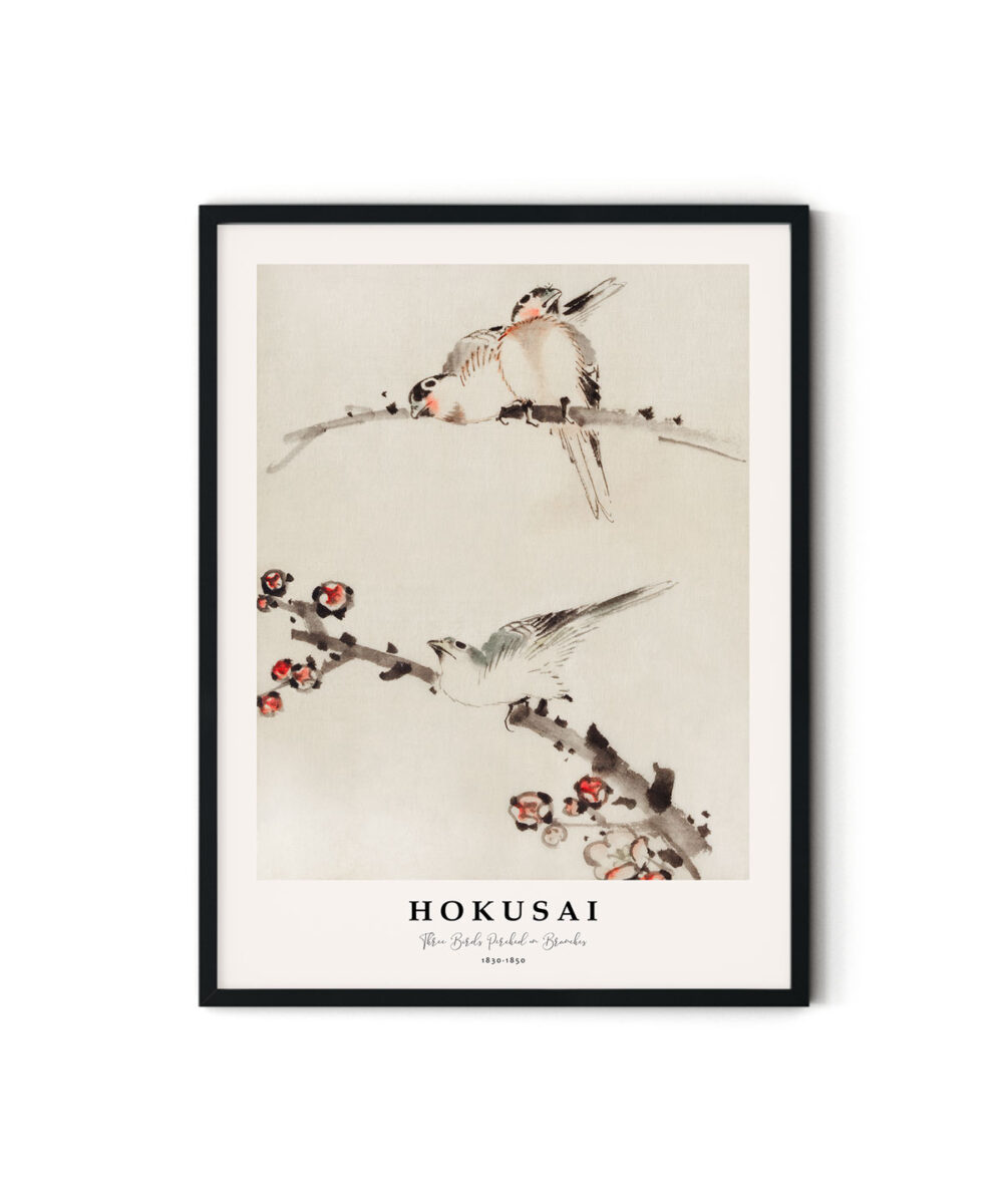 Hokusai-Three-Birds-Perched-on-Branches-Poster-Duwart