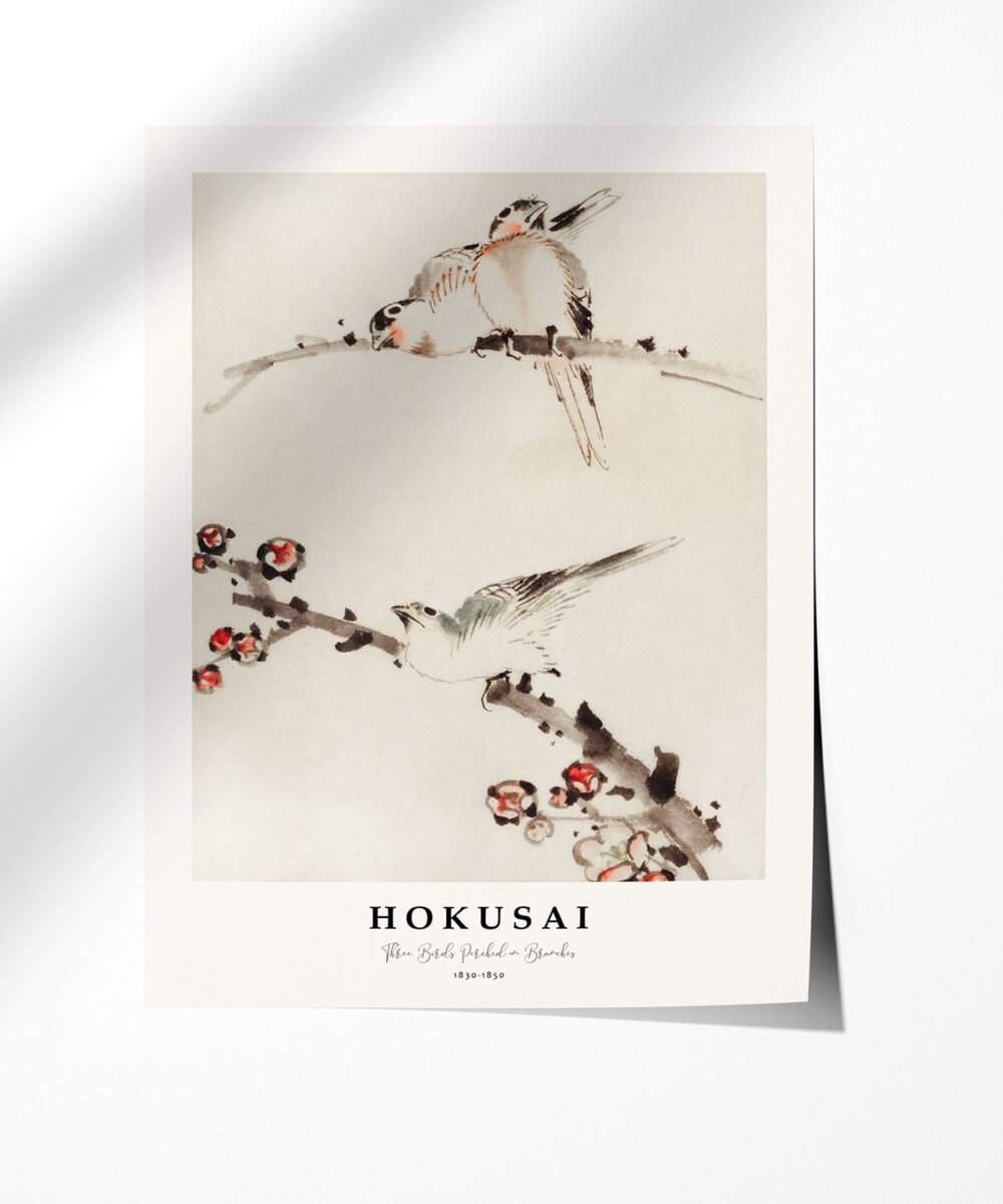 Hokusai-Three-Birds-Perched-on-Branches-Poster-Photopaper-Duwart