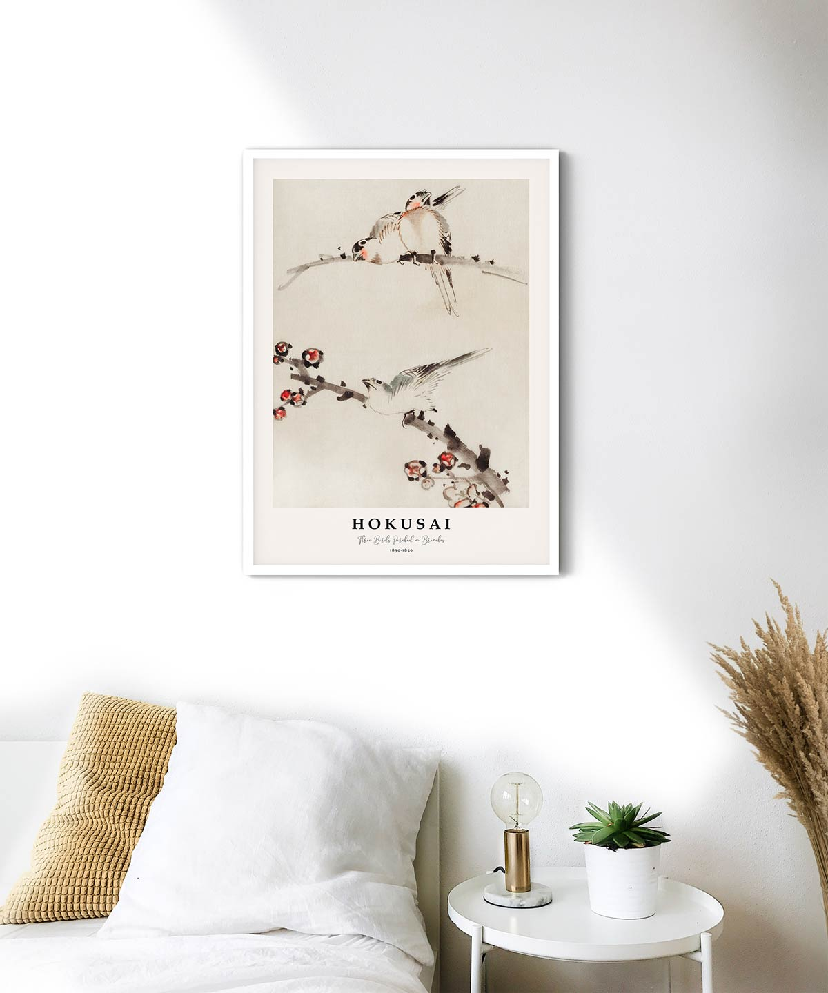 Hokusai-Three-Birds-Perched-on-Branches-Poster--White-Framed-on-Wall-Duwart