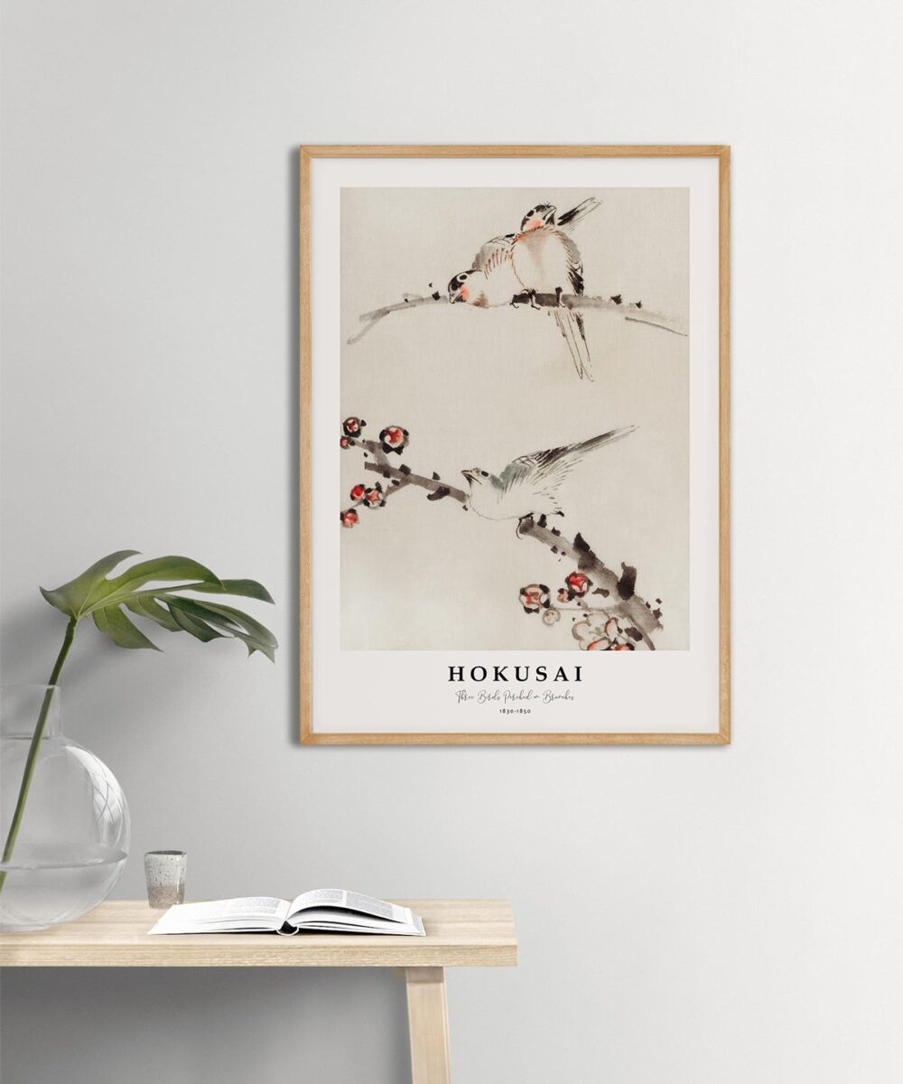 Hokusai-Three-Birds-Perched-on-Branches-Poster--Wooden-Framed-Duwart
