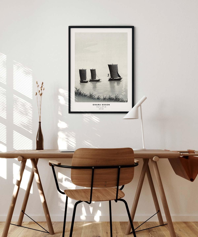 Ohara-Koson-Fishing-Boats-Poster-Black-Framed-Duwart