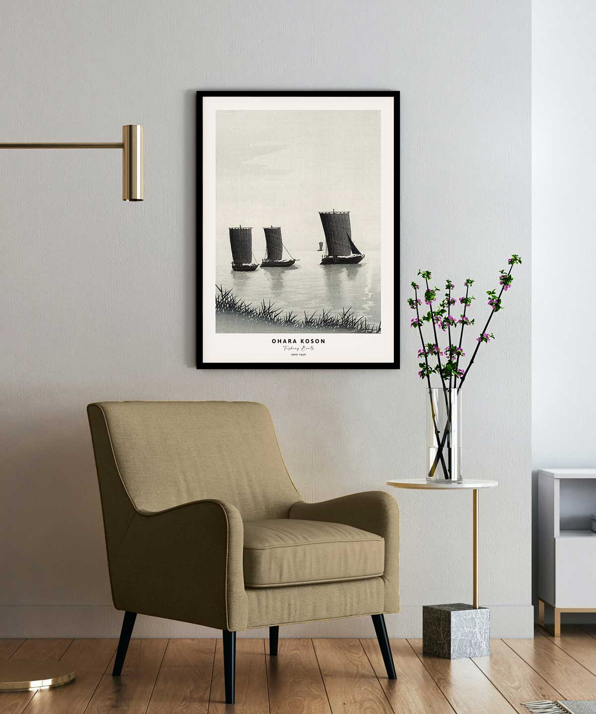 Ohara-Koson-Fishing-Boats-Poster-Black-Framed-on-Wall-Duwart