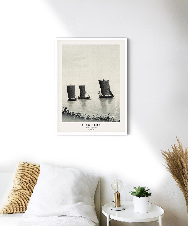 Ohara-Koson-Fishing-Boats-Poster-White-Framed-on-Wall-Duwart