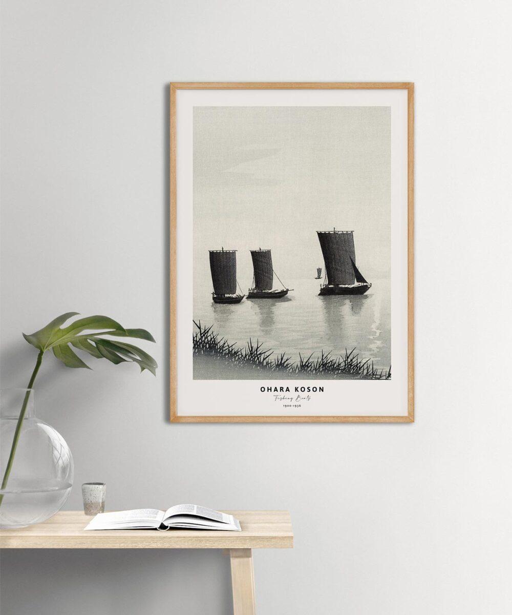 Ohara-Koson-Fishing-Boats-Poster-Wooden-Framed-Duwart