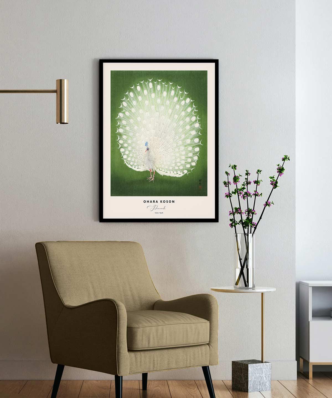 Ohara-Koson-Peacock-Poster-Black-Framed-on-Wall-Duwart