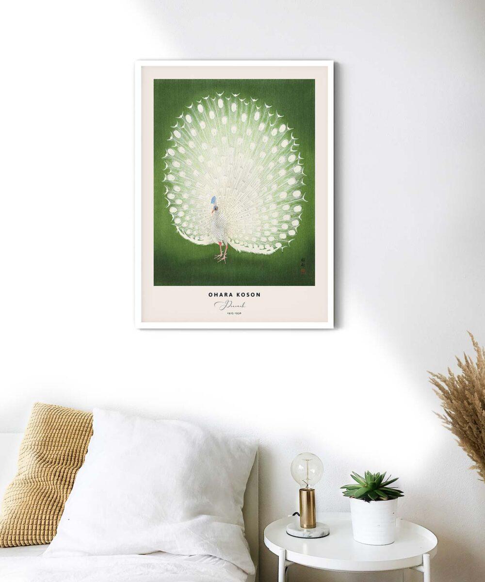 Ohara-Koson-Peacock-Poster-White-Framed-on-Wall-Duwart