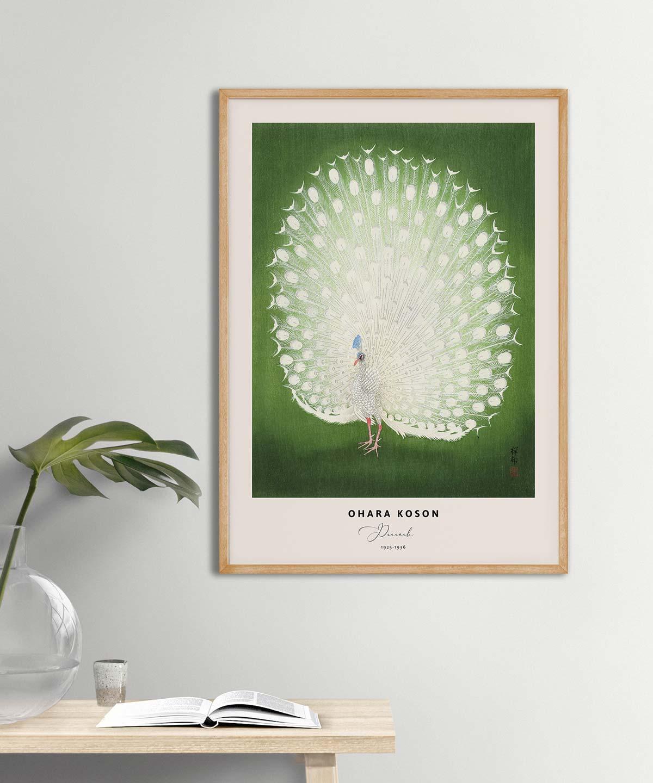 Ohara-Koson-Peacock-Poster-Wooden-Framed-Duwart