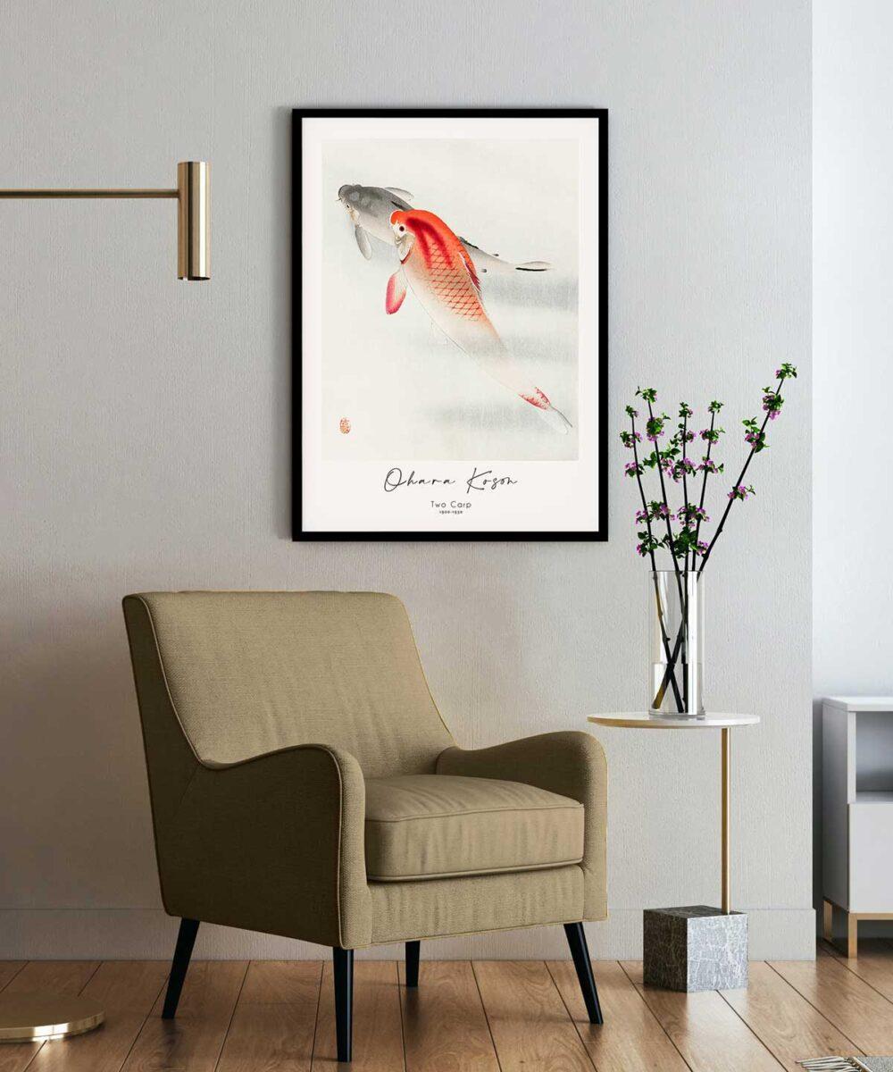 Ohara-Koson-Two-Carp-Poster-Black-Framed-on-Wall-Duwart