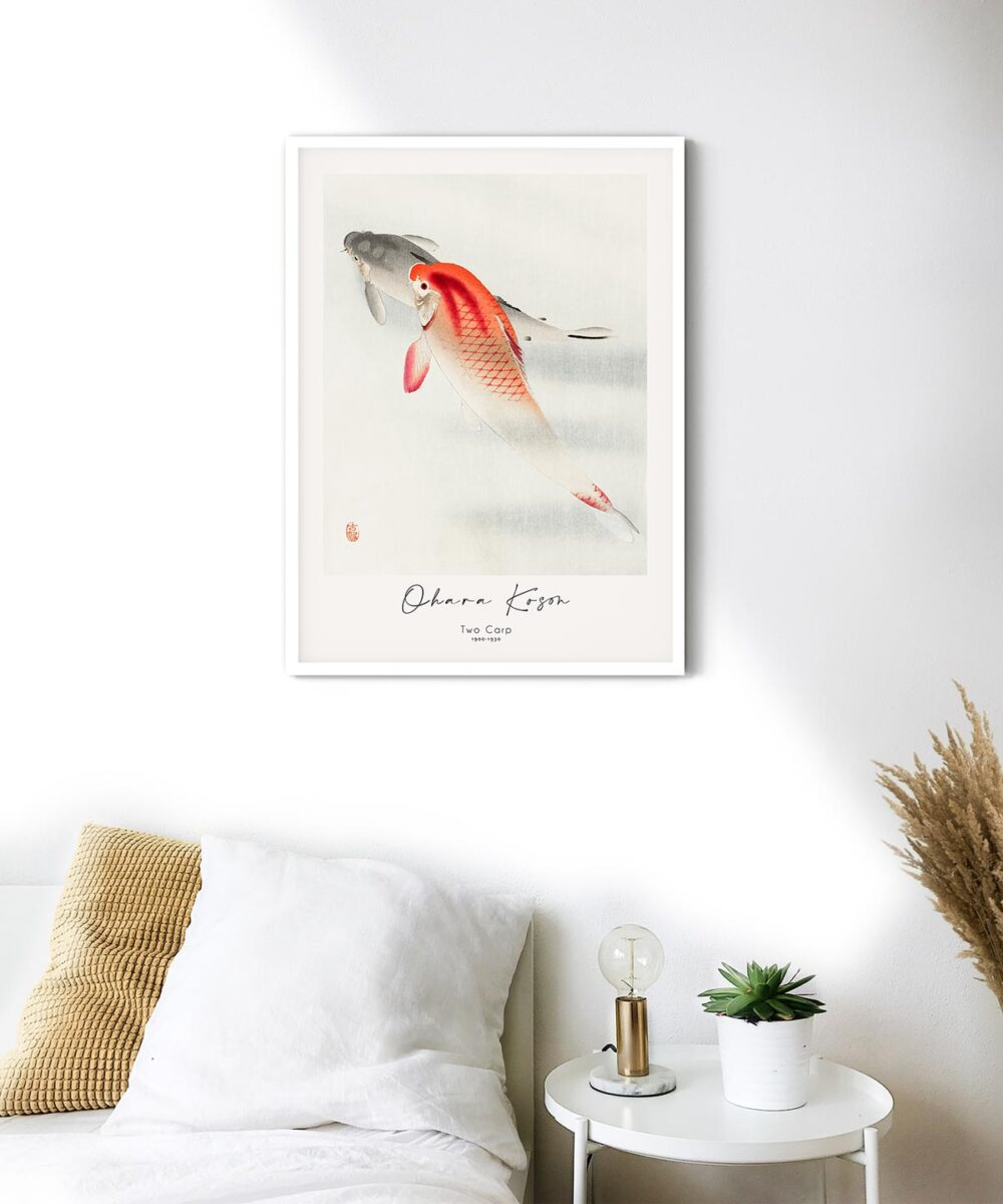 Ohara-Koson-Two-Carp-Poster-White-Framed-on-Wall-Duwart