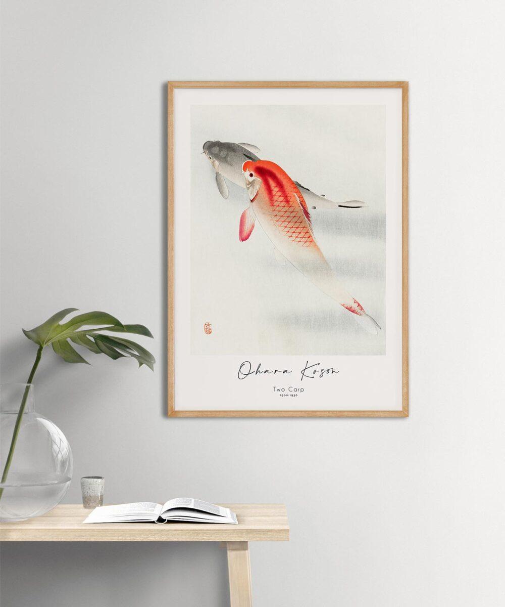 Ohara-Koson-Two-Carp-Poster-Wooden-Framed-Duwart
